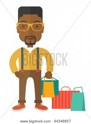 A black guy who go shopping with paper bags. A contemporary style. Vector flat design illustration with isolated white background. Vertical layout