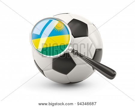 Football With Magnified Flag Of Rwanda