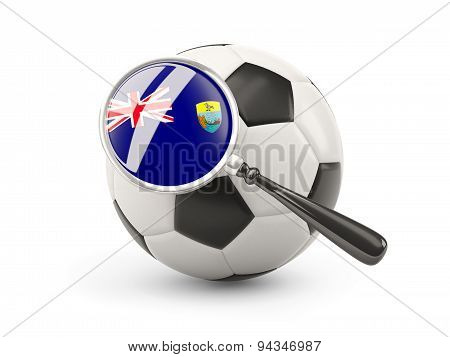 Football With Magnified Flag Of Saint Helena
