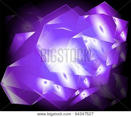 Abstract yellow background purple lighting of geometric shapes in abstract modern art design