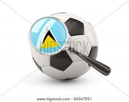 Football With Magnified Flag Of Saint Lucia