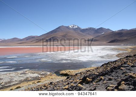 Mountain landscape with Laguna Colorada in Bolivia