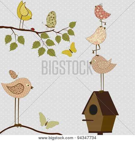Cute Stylized Birds And Birdhouse
