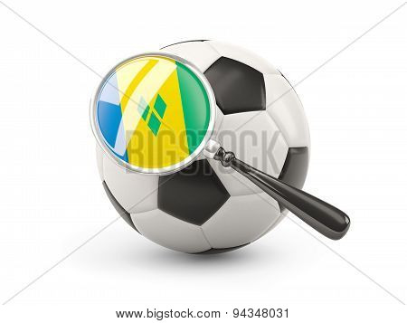 Football With Magnified Flag Of Saint Vincent And The Grenadines
