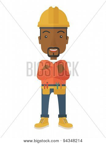 An african-american constructions worker wearing hard hat for protection of his head. Working concept. A contemporary style. Vector flat design illustration with isolated white background. Vertical