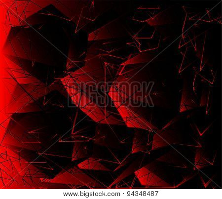 Polygonal design - Abstract geometrical dark red background