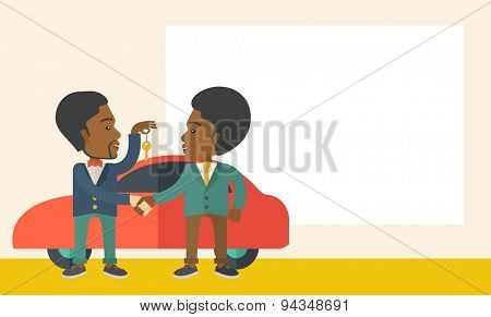 A Car sale handed to other man. Selling concept. A Contemporary style with pastel palette, soft beige tinted background. Vector flat design illustration. Horizontal layout with text space in right