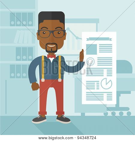 A happy black man standing inside his office showing his complete paper works report on time. Achievement concept. A Contemporary style with pastel palette, soft blue tinted background. Vector flat