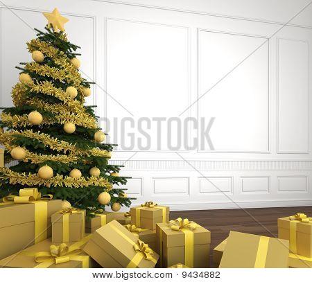 Cerca de oro árbol de Navidad en sala blanca