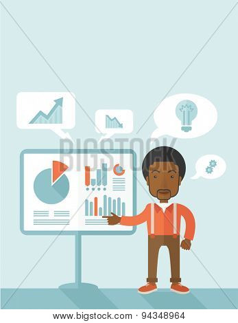 A black speaker presenting his report through infographics inside the conference room. Reporting concept. A Contemporary style with pastel palette, soft blue tinted background. Vector flat design