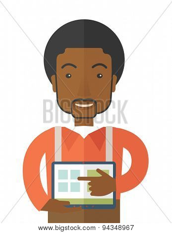 A black man standing while his hand pointing to the tablet. Business concept.  A contemporary style. Vector flat design illustration with isolated white background. Vertical layout.
