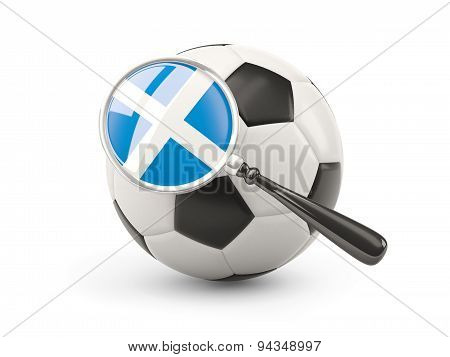 Football With Magnified Flag Of Scotland