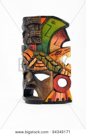Indian Mayan Aztec Wooden Mask With Anaconda And Jaguar Isolated On White Background