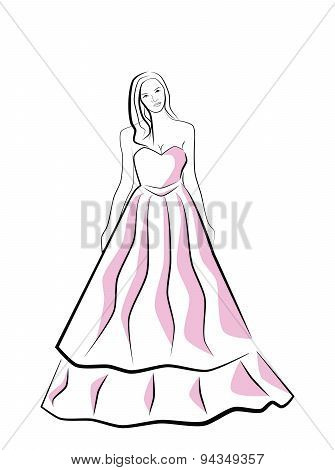 vector beautiful young bride
