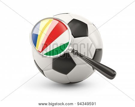 Football With Magnified Flag Of Seychelles