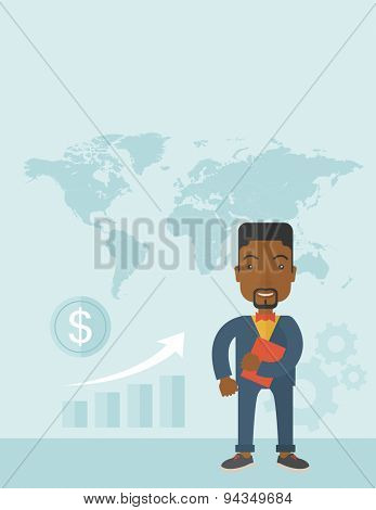 A black man standing holding red notebook ready for their business presentation. Business concept. A Contemporary style with pastel palette, soft blue tinted background. Vector flat design