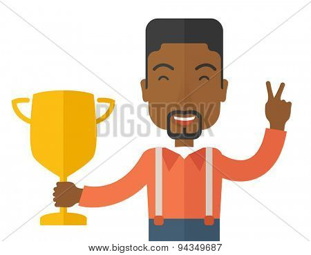 An african businessman proudly holding up winning trophy. Winner concept. A contemporary style. Vector flat design illustration with isolated white background. Horizontal layout.