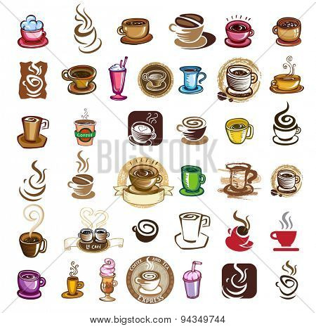 Coffee cups - design elements for coffee emblem, vector illustration.