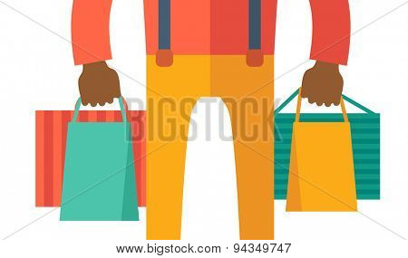 A black hand carrying a shopping bag. A contemporary style. Vector flat design illustration with isolated white background. Horizontal layout.