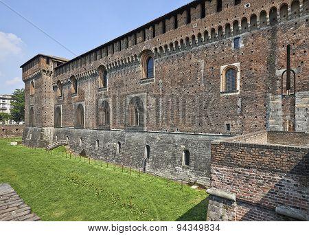 Castello Sforzesco In Milan, Italy