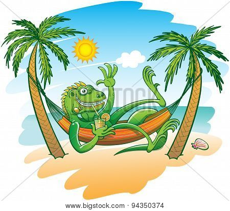 Cool iguana enjoying holidays in a hammock on the beach