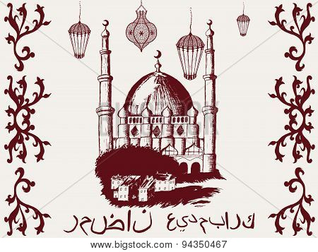 Islamic mosque pattern hand-painted