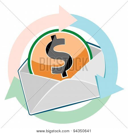 Mail Envelope With Dollar Currency Sign