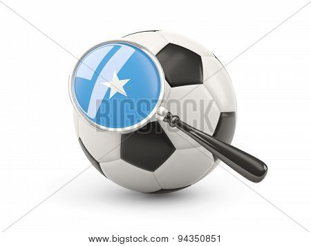 Football With Magnified Flag Of Somalia
