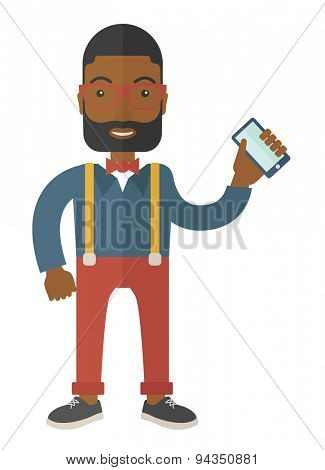 An office worker holding his smartphone. A Contemporary style. Vector flat design illustration with isolated white background. Vertical layout.