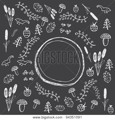Hand drawn forest pattern with mushroom,  branch,  leaf,  berry and duck. Vector illustration
