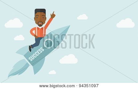 A black man with a beard flying on the rocket raising his hand in the air as his start up. Success concept. A Contemporary style with pastel palette, soft blue tinted background with desaturated