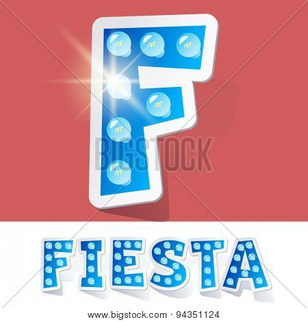 Funny lamp cartoon alphabet for party, holiday and celebration. Sticker style. Letter F