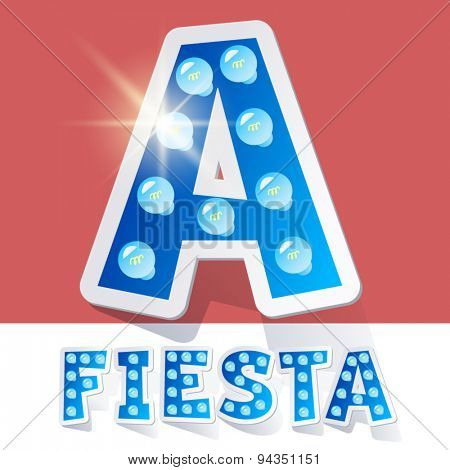Funny lamp cartoon alphabet for party, holiday and celebration. Sticker style. Letter A