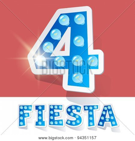 Funny lamp cartoon alphabet for party, holiday and celebration. Sticker style. Number 4