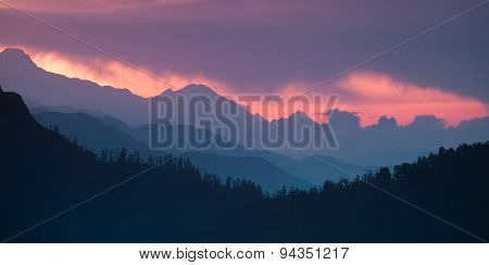 Panoramic Himalayan hills and mountains