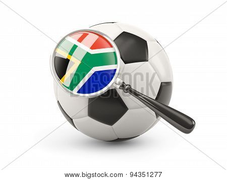 Football With Magnified Flag Of South Africa