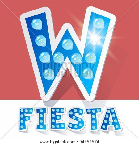 Funny lamp cartoon alphabet for party, holiday and celebration. Sticker style. Letter W
