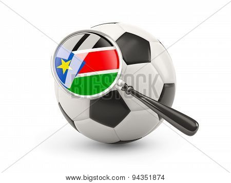 Football With Magnified Flag Of South Sudan
