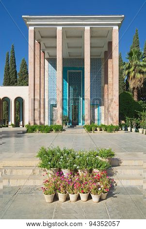 Exterior of the Saadi mausoleum in Shiraz, Iran.