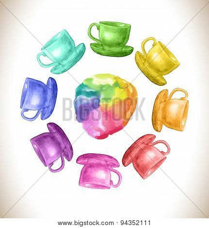 Watercolor rainbow vector frame with cups
