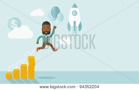 An african Businessman holding balloons fly high with coin graph that shows increase in sales. Start up business concept. A Contemporary style with pastel palette, soft blue tinted background with