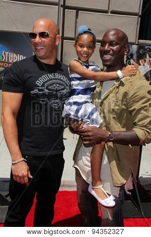 LOS ANGELES - JUN 23:  Vin Diesel, Tyrese Gibson, Tyrese's daughter at the