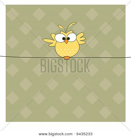 Owl on the rope. Vector illustration