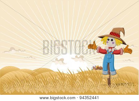 Farm landscape with cartoon scarecrow