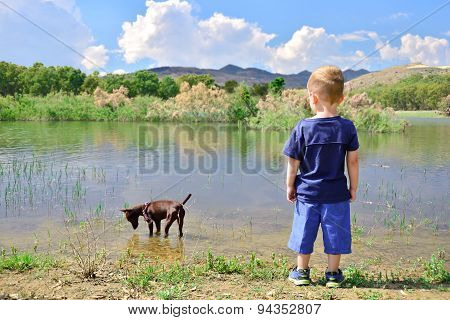 Child On The Shore Of Lake Pozzillo, Sicily