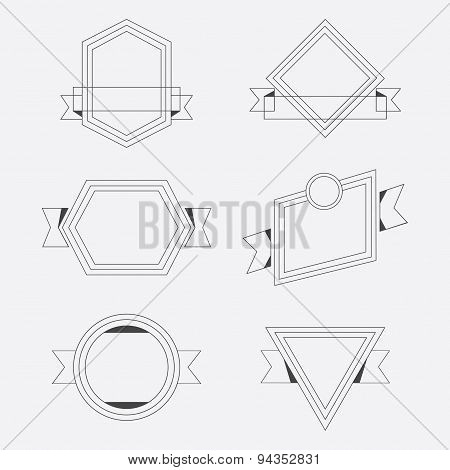 Black thin line empty geometrical ribbon banners design elements set on white background
