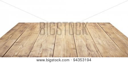 Wooden table top isolated on white background.