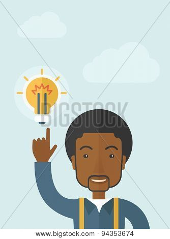 A happy black guy raising his hand pointing the bulb having a good idea for business. Business concept. A Contemporary style with pastel palette, soft blue tinted background with desaturated clouds