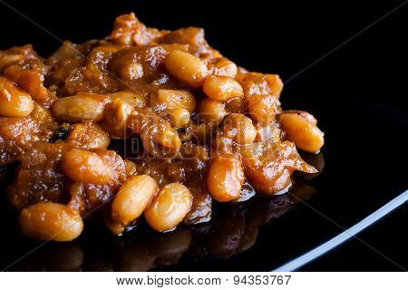 Closeup on baked beans