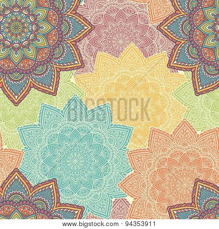 Ethnic floral seamless pattern